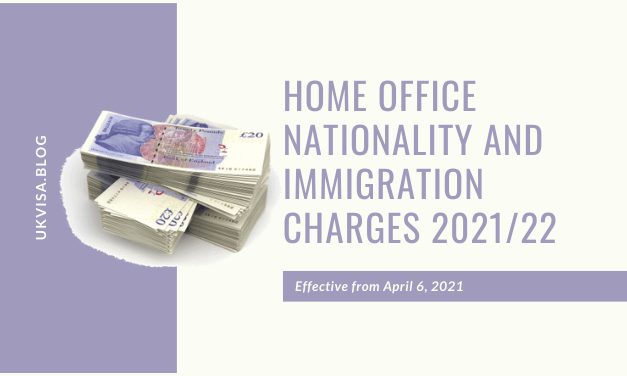 How much is the Home Office UK Visa and Immigration Fee in 2021?